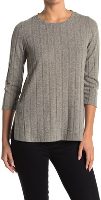Bobeau Wide Rib 3/4 Sleeve Top
