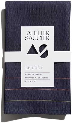 Atelier Saucier Denim Jewel Tea Towel, Set Of 2