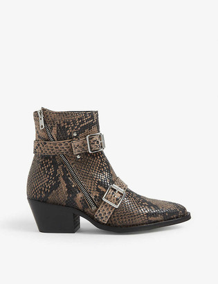 AllSaints Lior snake-embossed leather ankle boots