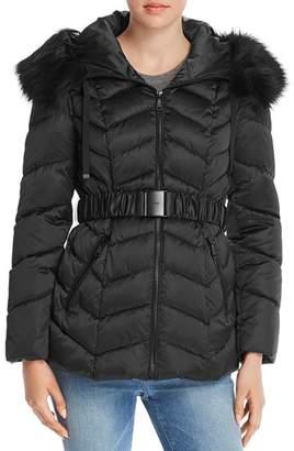 T Tahari Leon Faux Fur-Trim Belted Puffer Coat