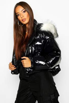 boohoo Crop Vinyl Faux Fur Trim Puffer Jacket