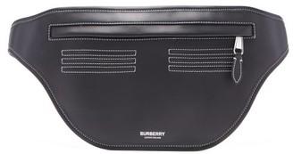 Burberry Sonny Topstitched Leather Belt Bag - Mens - Black