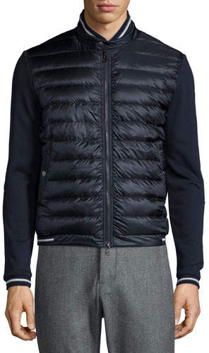 Moncler Quilted Nylon-Front Track Jacket, Navy