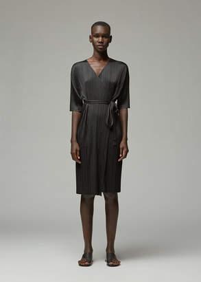 Pleats Please Issey Miyake Three-Quarter Sleeve Wrap Dress