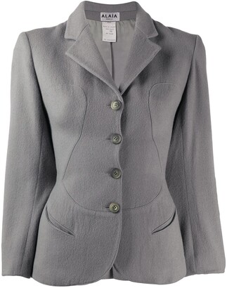 Alaïa Pre Owned 1980s Curvy Panels Slim-Fit Blazer