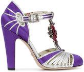 Gucci T-strap floral applique pumps