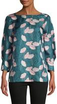 Lafayette 148 New York Botanical-Print Silk Blouse