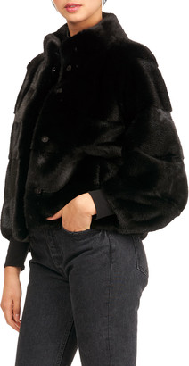 Gorski Horizontal Mink Fur 3/4 Sleeve Jacket