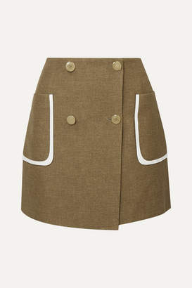 Fendi Leather-trimmed Wool And Silk-blend Mini Skirt - Beige