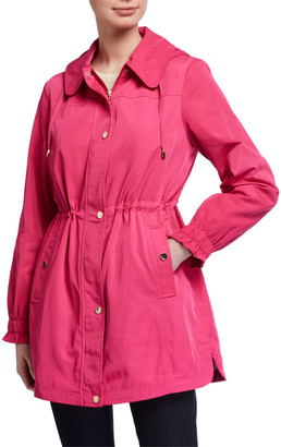 Kate Spade Drawcord Ruffle-Sleeve Anorak With Detachable Hood