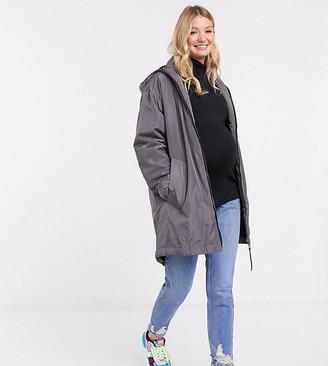 ASOS DESIGN Maternity faux fur lined raincoat in gray