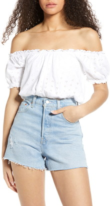 BP Off the Shoulder Eyelet Top