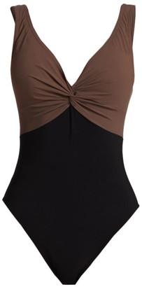 Karla Colletto Swim Isadora V-Neck Twist Underwire One-Piece Swimsuit