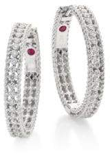 Roberto Coin Symphony Diamond& 18K White Gold Hoop Earrings/0.75""