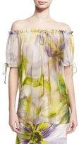 Naeem Khan Floral Off-the-Shoulder Blouse, Lilac/Multicolor