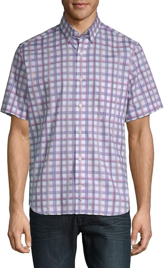 Tailorbyrd Men's August Plaid Short-Sleeve Cotton Button-Down Shirt