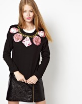 Emma Cook Neckline Sweatshirt with Gemstones