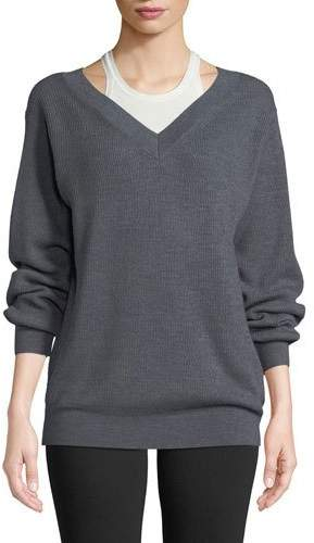 Alexander Wang Bi-Layer V-Neck Wool Sweater with Tank
