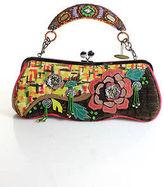 Mary Frances Multi-Colored Leather Applique Floral Design Beaded Embellished Han