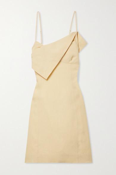 Jacquemus Open-back Draped Linen Mini Dress - Pastel yellow