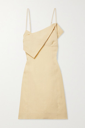 Jacquemus Open-back Draped Linen Mini Dress - Pastel yellow