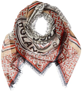 Burberry Monogram Square Wool & Silk-Blend Scarf