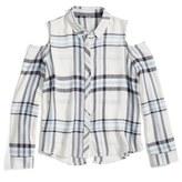 Girl's Freshman Cold Shoulder Plaid Shirt