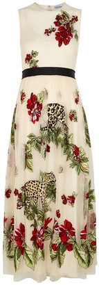 RED Valentino Ivory embroidered pointe d'esprit dress