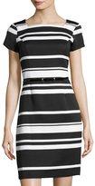 Ellen Tracy Striped Belted Piqué Dress, Black/White