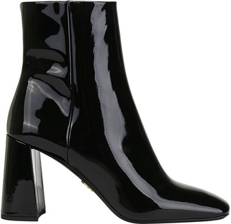 Prada Patent Zipped Ankle Boots