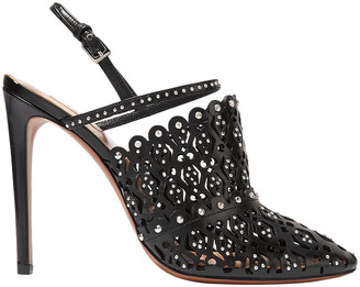 Alaia 110 Studded Laser-cut Leather Slingback Pumps