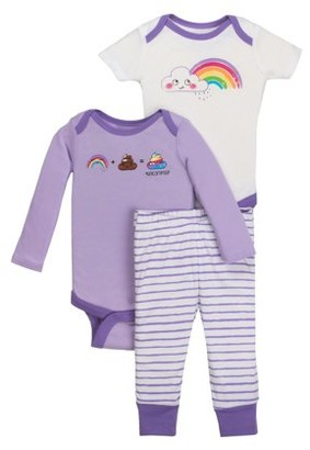 Little Star Organic Baby Girl Bodysuit & Pant 3pc Outfit Set