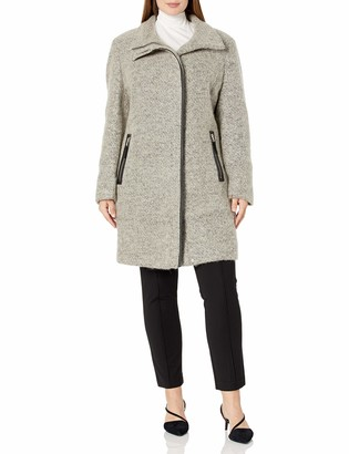 Calvin Klein Womens Plus Sized Plated Wool Coat