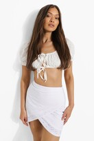 Thumbnail for your product : boohoo Broderie Jersey Wrap Mini Skirt