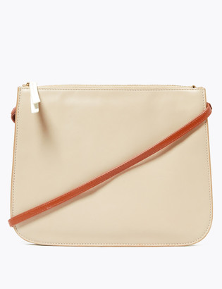 Marks and Spencer Leather 3 Part Construction Cross Body Bag
