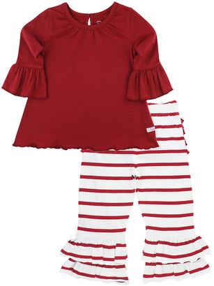 RuffleButts Girl's Cranberry Belle Scalloped Top w/ Striped Ruffle Leggings, Size 0-4T