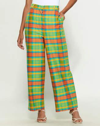 Hache Neon Plaid Wide Leg Pants