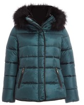 Dorothy Perkins Womens Quiz Teal Fur Trim Hooded Jacket