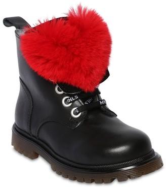 MonnaLisa Leather Boots W/ Fur Applique