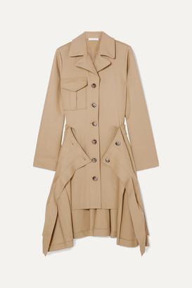 Chloé Asymmetric Pleated Stretch Wool-twill Midi Dress - Beige