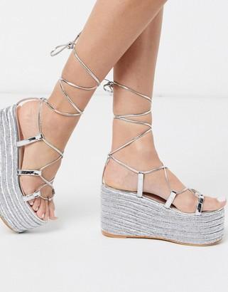 Simmi Shoes Simmi London Melanie espadrille gladiator flatform in silver mirror