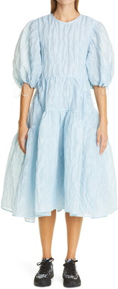 Cecilie Bahnsen Libby Puff Sleeve Linen Blend Dress