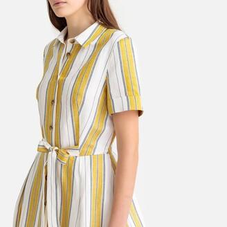 Linen Mix Striped Tie-Waist Shirt Dress