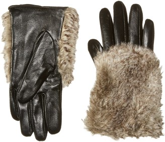 La Fiorentina Women's Sheep Leather Touchscreen Glove with Faux Fur Hand Overlay