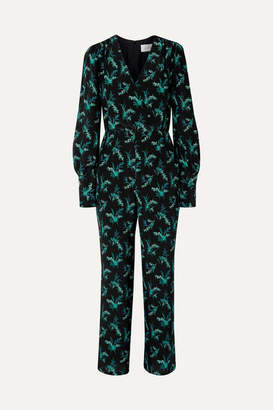 Les Rêveries Wrap-effect Floral-print Silk Crepe De Chine Jumpsuit - Black