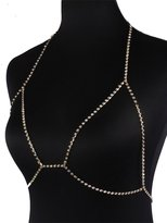 Glamaker Women's Sexy Rhinestone Bra Body Necklace Chain Bikini Jewelry Clubwear