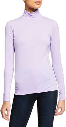 Majestic Filatures Fitted Long-Sleeve Turtleneck Top