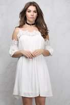Rare White Cold Shoulder Crochet Trim Dress