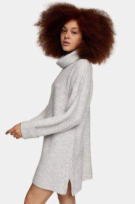 Topshop Grey Marl Plaited Funnel Knitted Dress