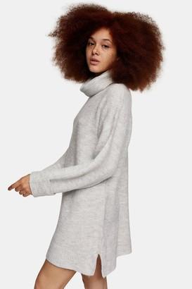 Topshop Womens Grey Marl Plaited Funnel Knitted Jumper Mini Dress - Grey Marl